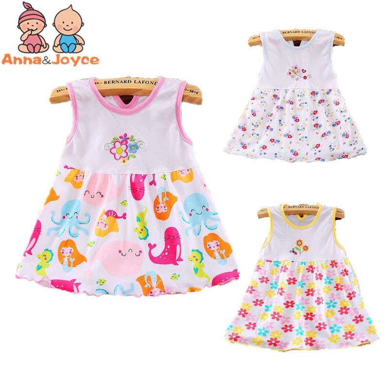 2017 Branded Baby Dress Baby girls dress,super soft 100% cotton ,lovely cartoon style0–2 yearsaTST002