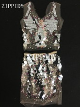 Colorful Pearls Rhinestones Mesh Outfit See Through Dance Wear Mirrors Outfit Nightclub Singer Silver Sequins Top Skirt