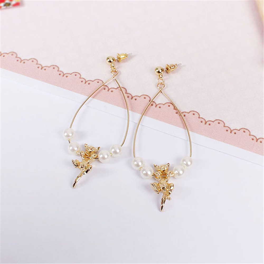 Fashion new lovely golden stereo cat star people drop pearl earrings 2016 accessories wholesale