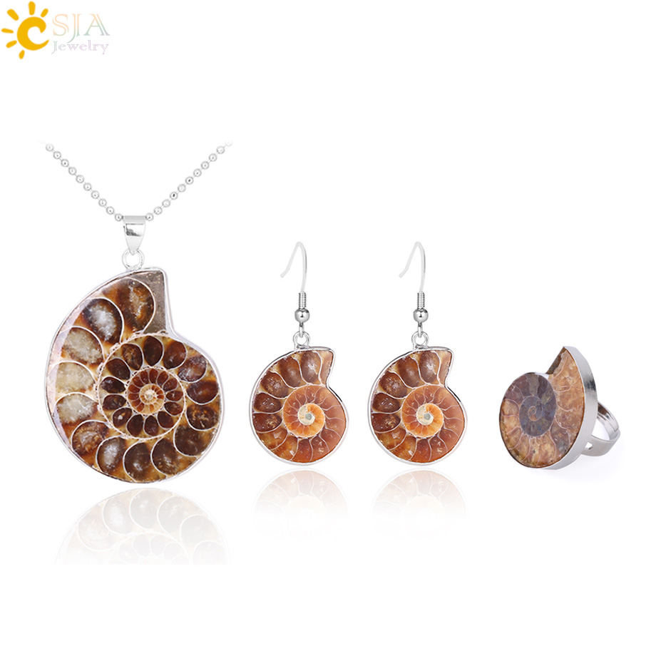 HTB1Y6h.XoLrK1Rjy1zbq6AenFXa7 - CSJA Hot Natural Ammonite Stone Jewelry Sets Necklace Earrings Ring Conch Shell Whorl Fossils Pendant Beach Jewellery Women F613