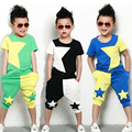 2015 NEW children clothing set stars boys set baby sets short t shirt+pants 2 pcs set clothes kids suit 3-7 Years free shipping