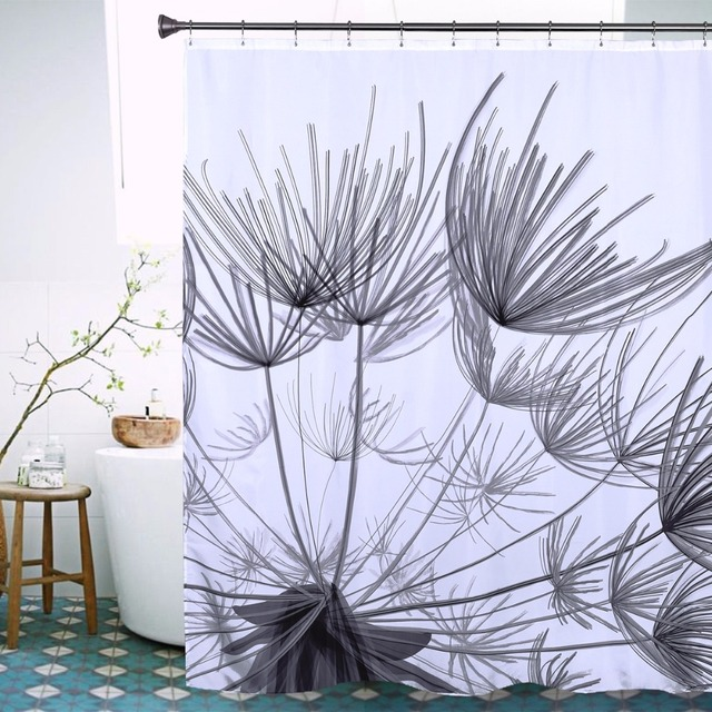 Black Dandelion Shower Curtain High Quality Polyester Waterproof Fabric Modern Stylish Bath 72