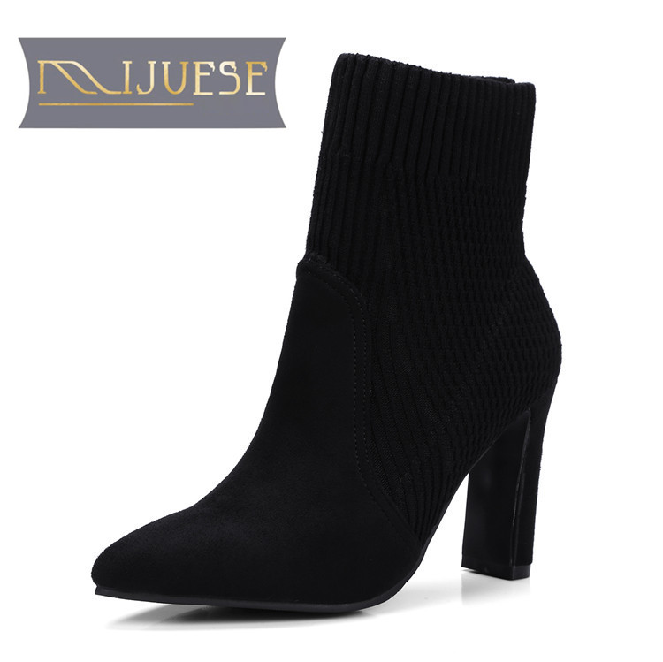 MLJUESE 2018 women Ankle Boots Elastic Sock Chunky High Heels slip on fashion Winter black color Sexy Booties Pointed Toe 2017 solid black winter spring women shoes slip on pointed toe spike high heels ankle boots women free ship size 9 12