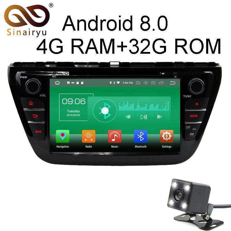 Sinairyu 4 г Оперативная память Android 8.0 автомобильный DVD для Suzuki SX4 S-Cross 2014 2015 Octa core 32 г встроенная память Радио GPS плеер головное устройство