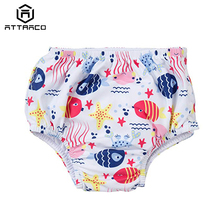 Attraco Girl Swim shorts Cartoon Print Swimwear Lined Briefs Side Bandage Swimming Bottom With Diapers