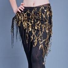 Nuevos trajes de danza del vientre borla de lentejuelas indio vientre bailar pañuelo de la cadera para mujeres cinturón de danza del vientre 11 tipos de colores