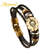 Ajojewel Handmade Zinc Alloy Buckles 12 Zodiac Signs Bracelet Punk Leather Bracelet Men Charm Jewelry