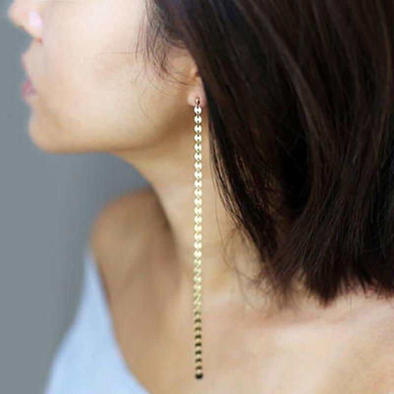 Boucles d'oreilles longues faites à la main pièces brinco 925 argent Vintage charme bijoux minimaliste Boho Pendientes boucles d'oreilles pour femmes Oorbellen
