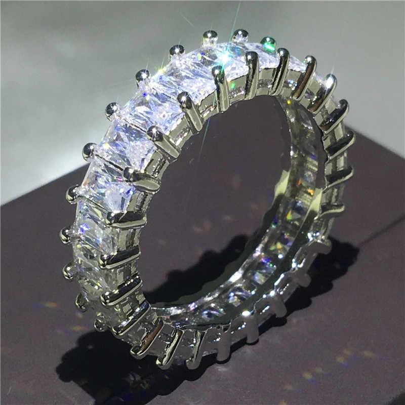 2018 เครื่องประดับเทนนิส 925 เงินสเตอร์ลิงแหวนตัด cut Sona 5A zircon แหวนหมั้นแหวนผู้หญิงผู้ชายของขวัญ