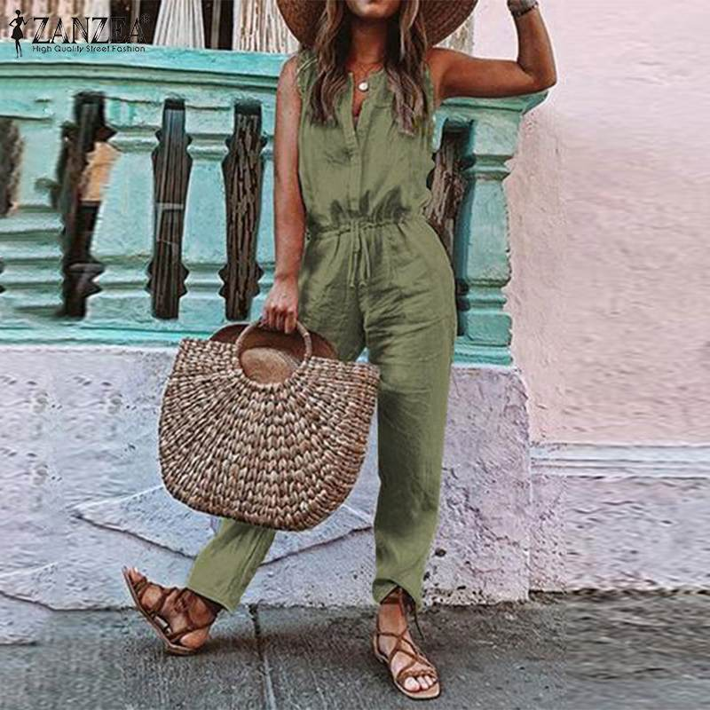 2020 Plus Size ZANZEA Sleeveless Jumpsuits Summer Women Solid V Neck Cotton Party Long Rompers Overalls Female Playsuits Pants