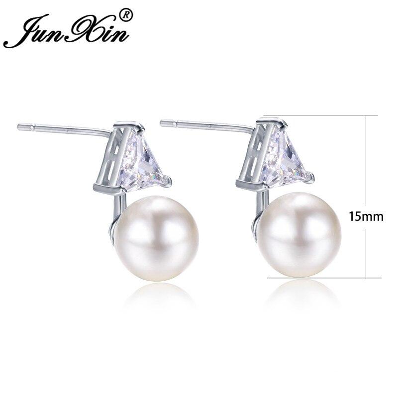 JUNXIN Girls Triangle Stone Pearl Stud Earrings For Women Silver Color Geometry Earrings Female Engagement Jewelry
