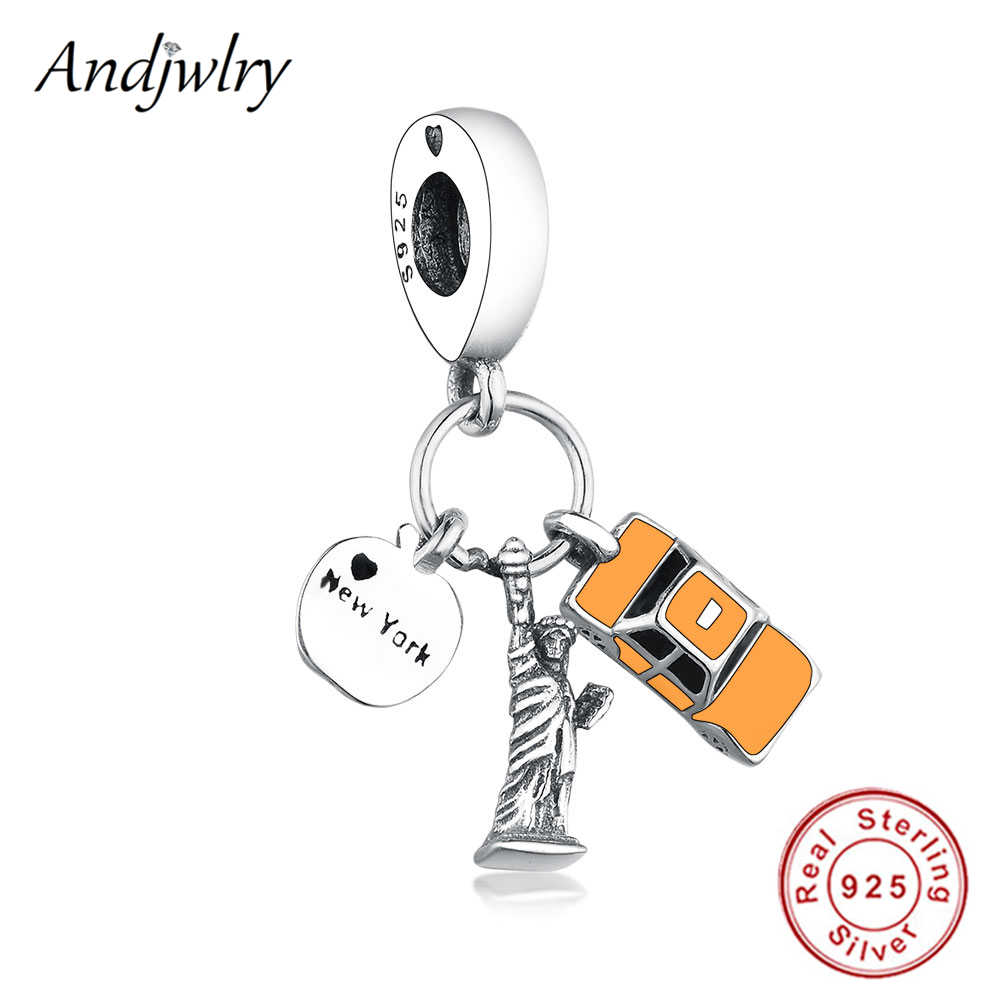 Fit Original Pandora Charms Bracelet Real 925 Sterling Silver New York Highlight Enamel Dangle Charms Beads For Making Berloque
