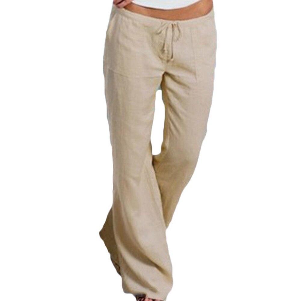 YJSFG HOUSE Fashion Women   Pants   Casual Trousers Summer   Pants   Elasticated Waist Bottoms Beach Plus Size   Wide     Leg     Pants   Home