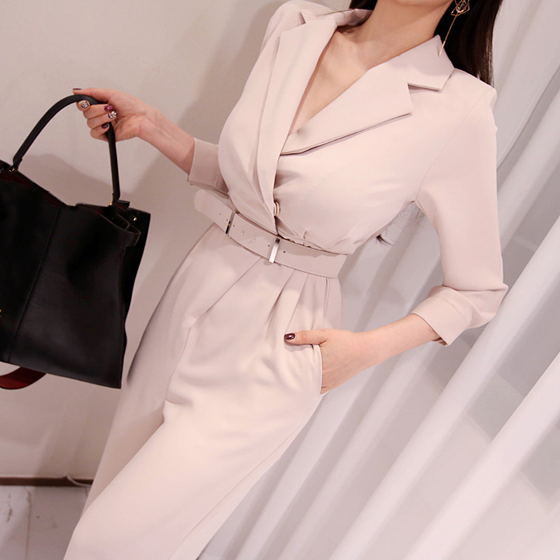 MVGIRLRU Solid Waist Belt Notched Collar Jumpsuit Going Out Office Lady Long Sleeve Women Playpsuits
