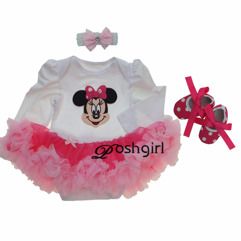 где купить Baby Girl Clothing Sets Baby Minnie Mouse Long Tutu Romper Dress Jumpersuit+Headband+Shoes 3pcs Set Bebe First Birthday Costumes дешево