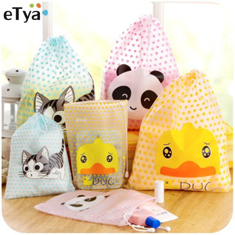 eTya 1PCS Travel Women Nesesser Cosmetic Bag PVC Transparent Makeup Bag Case Pouch Toiletry Storage Organizer Wash String Case color block panel pouch design string t back