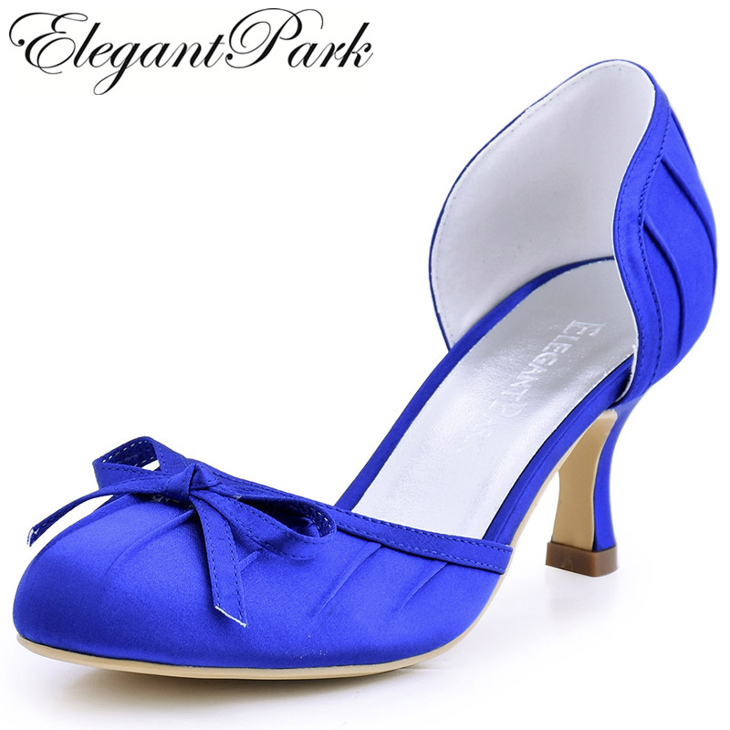 Sweet Girls High Heel Shoes A2100 Blue Round Toe Bow Pleated Satin Woman Bride Bridesmaid Wedding Bridal Pumps Woman Shoes navy blue woman bridal wedding sandals med heel peep toe bride bridesmaid lady evening dress shoes white ivory pink red hp1623