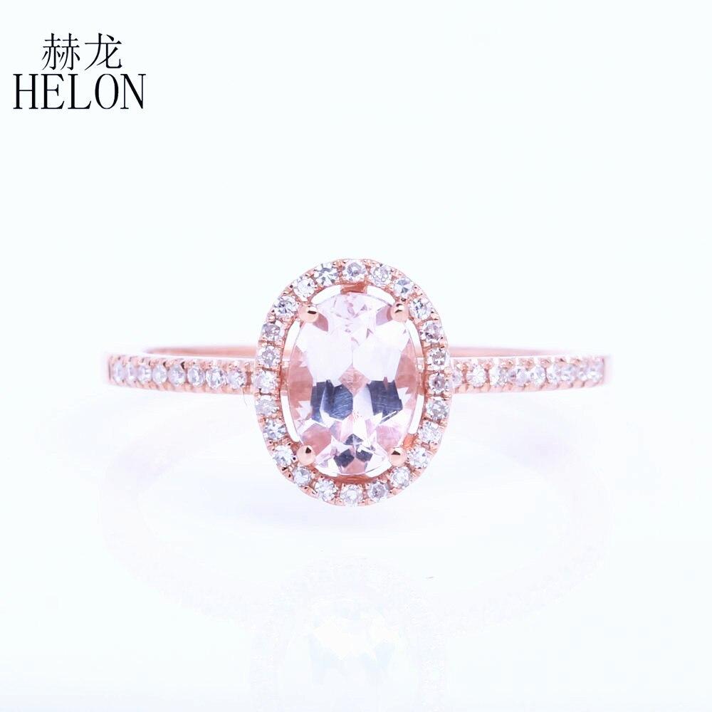 8ecc315e224 HÉLON Solide 14 k Or Rose 6x8mm Ovale 1.2ct Morganite Anneau Halo Pavent  0.18ct Diamant Gracieuse De Mariage Engagement Des Femmes Anneau Fin
