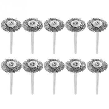 цена на 10 Pcs/lot 25mm Mini Stainless Steel Wire Brush Polishing Wheel for Grinder Rotary Tool Grinding Tools