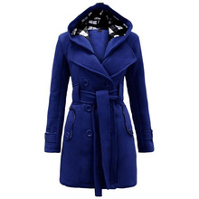 Winter Trench Coat 2018 Hot Womens Waist Windbreaker Women Female Hooded Long Section Of Double Breasted Wool