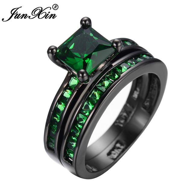 JUNXIN High Quality Green Cubic Zircon Wedding Double  Rings Black Gold Filled Big Rings For Women Wedding Jewelry Anello Uomo
