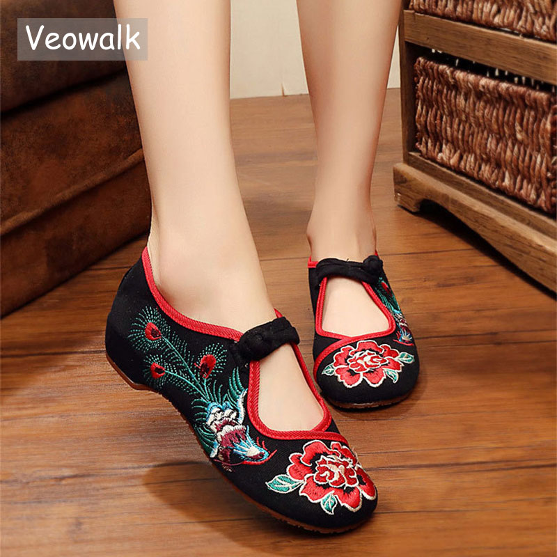 Veowalk Fashion Handmade Vintage Women Ballet Flats Old Beijing Chinese Traditional Embroidered Cloth Single Shoes For Woman vintage pumps spring autumn old beijing embroidery cloth shoes fairy girl embroidered national han chinese women s shoes