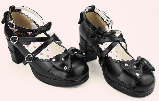 ФОТО Harajuku Sweet Lolita Cosplay Chunky High Heel Shoes Rhinestone Bow  Princess Shoes