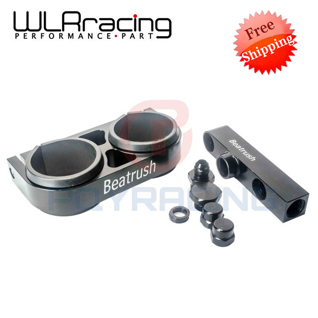 ФОТО WLRING Free shipping- Twin Fuel Pump Bracket Billet Aluminium Assembly OUTLET Manifold In Black for 044 fuel pump WLR-LD2641