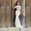 Fashionable simple wedding dress with short seleves