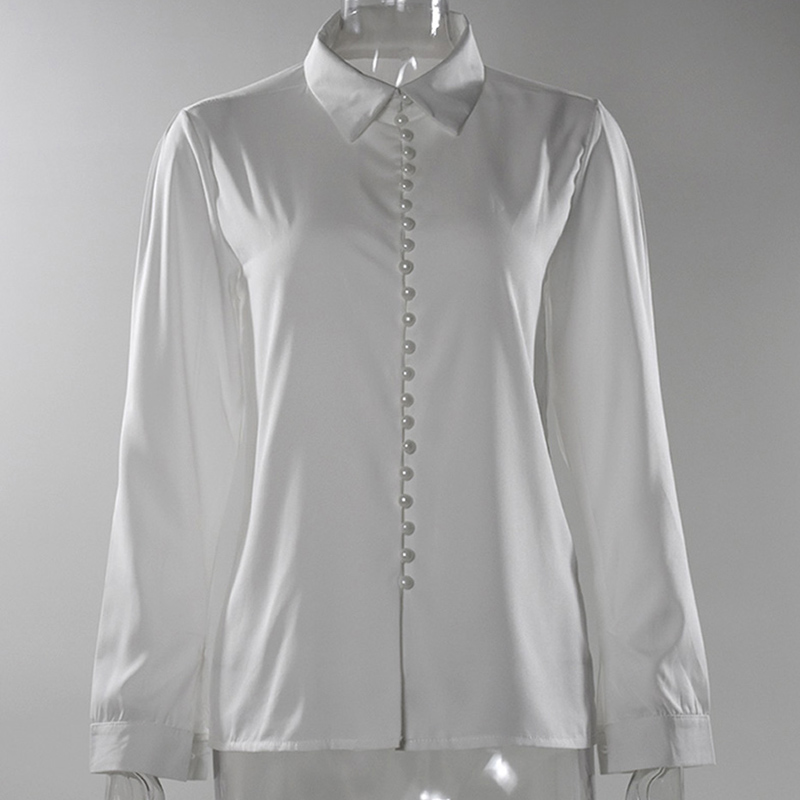 Women Shirt Sexy 2019 Autumn Buttons V Neck Turn down Collar Long Sleeve Blouse Plus Size 5XL White Ladies Minimalist Office Top in Blouses amp Shirts from Women 39 s Clothing