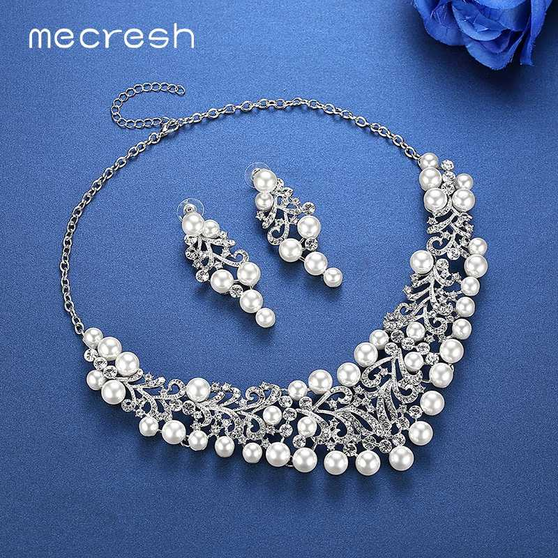 Mecresh Noble Simulated Pearl Wedding Bridal Jewelry Sets Cute Plant Crystal Necklace Earrings Sets 2018 Summer Jewelry MTL490