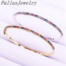 5Pcs Rainbow Zirconia Micro Pave Armbanden Kleurrijke CZ Gouden/Zilveren Kleur Dunne Sieraden Armbanden Voor Vrouwen Meisjes