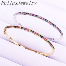 5Pcs Rainbow Zirconia Micro Pave Bracelets Colorful CZ Gold/Silver Color Thin Jewelry Bangles For Women Girls