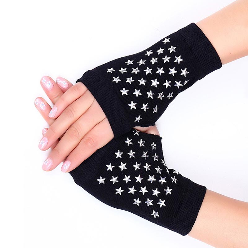 Back To Search Resultsapparel Accessories Reliable New Lady Rhinestone Fingerless Gloves Women Men Sparkling Knitted Girl Boy Black Wool Half Finger Computer Mitts Warm 7c2202