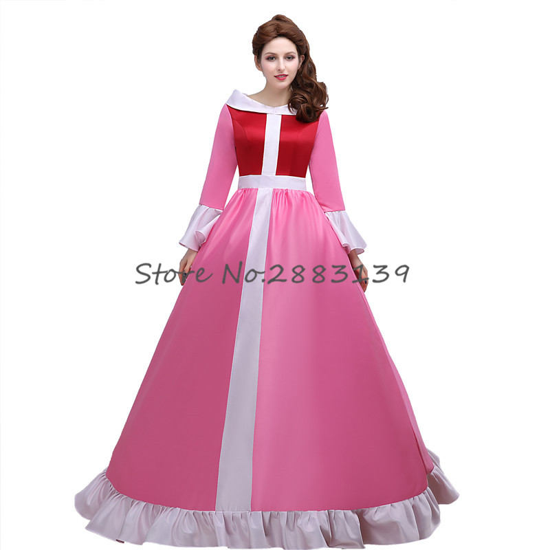 Custom Maid Movie Beauty And The Beast Cosplay Costume Princess Belle Pink Long Sleeve Dress For Women Christmas Vestidos D380 In TV Costumes From