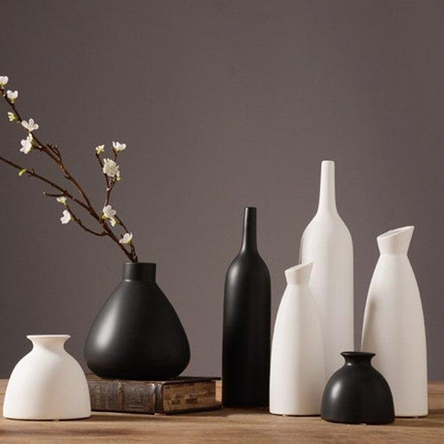 jarrones decorativos moderno escritorio florero de cermica china artes y artesanas de porcelana florero decoracin de la boda blanco negro - Jarrones Decorativos