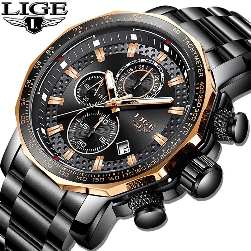 2019 Marca Top LIGE Novo Esporte Dos Homens do Cronógrafo Relógios de Luxo Cheio de Aço Relógio À Prova D' Água Grande Mostrador do Relógio de Quartzo Relogio masculino