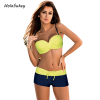 HolaSukey Bandage Bikini Sport Swimwear Women Solid Patchwork Swimsuit Female Sex Bikini Set Brazilian Summer Bathing