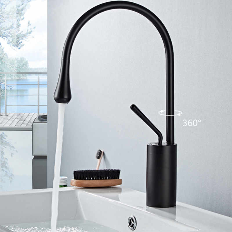 LIUYUE Basin Faucets Brass Black Tall/Low Single Handle Basin Drop Shape Faucet Bathroom Large Curved Faucet Cold Hot Mixer Taps