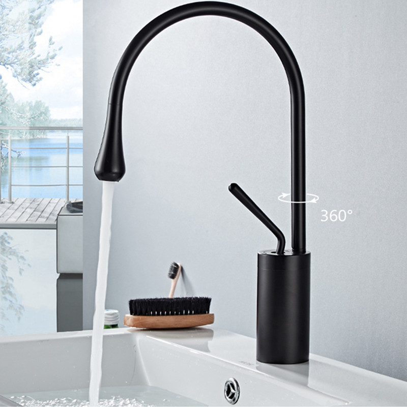 LIUYUE Basin Faucets Copper Black Tall/Low Basin Single Handle Drop Shape Faucet Bathroom Large Curved Faucet Cold Hot Mixer Tap