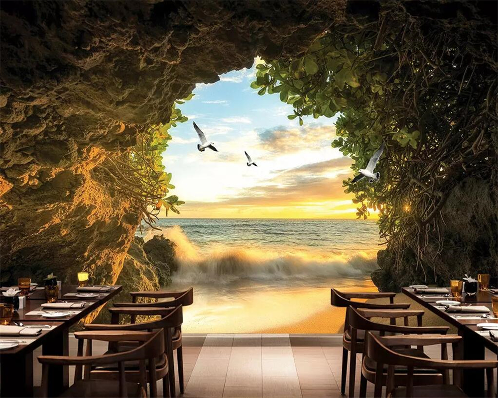 Beibehang Modern fashion cave outside the sea beach 3d photo wallpaper mural 3D living room bedroom background wall 3d wallpaper
