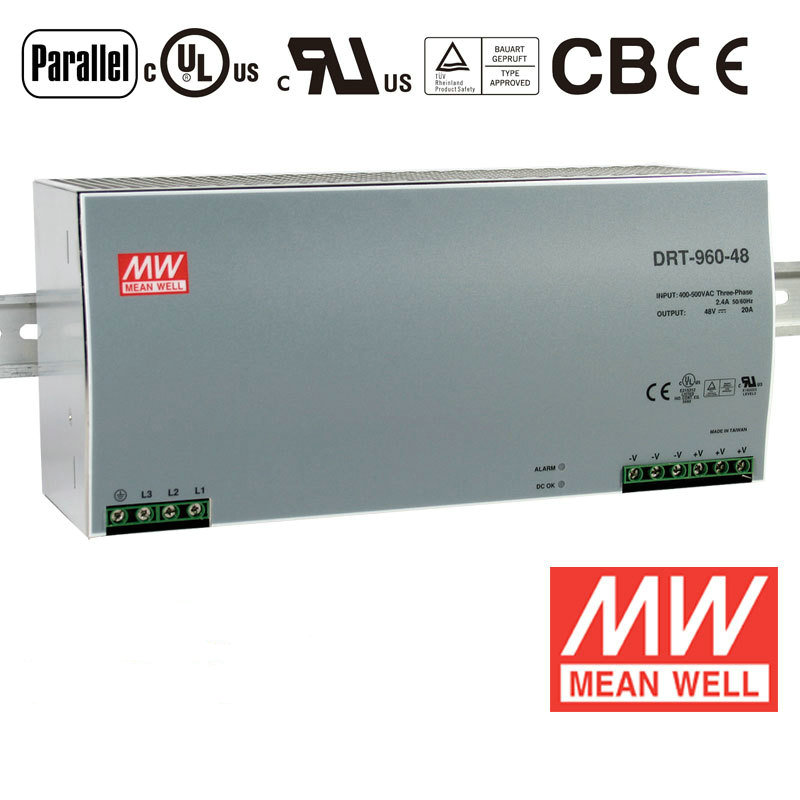 Din rail power supply 960W 48V power suply meanwell ac dc converter DRT-960-48 960W 20A 48V Industrial Original MEAN WELL original power suply unit ac to dc power supply nes 350 12 350w 12v 29a meanwell