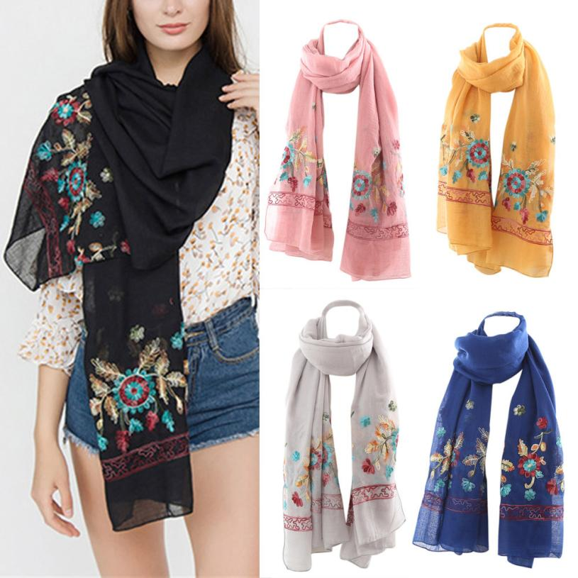 Scarves   Women Embroidery Flower Couple   Scarf   Shawl Summer Spring Casual   Scarf     Wrap   Cachecol 18JUL18