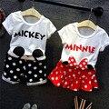 2016 nuevas Muchachas Del Verano Kids Comodidad Todo-Fósforo Lindo de La Historieta T-shirt + Shorts Faldas Set lindo bebé Ropa Niños Ropa 20 W