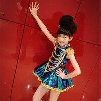 Новый блестки платье для танцев для девочек Современный Джаз Танцевальный костюм Танцы девушка платье Танцы одежда дети Этап одежда для пе...