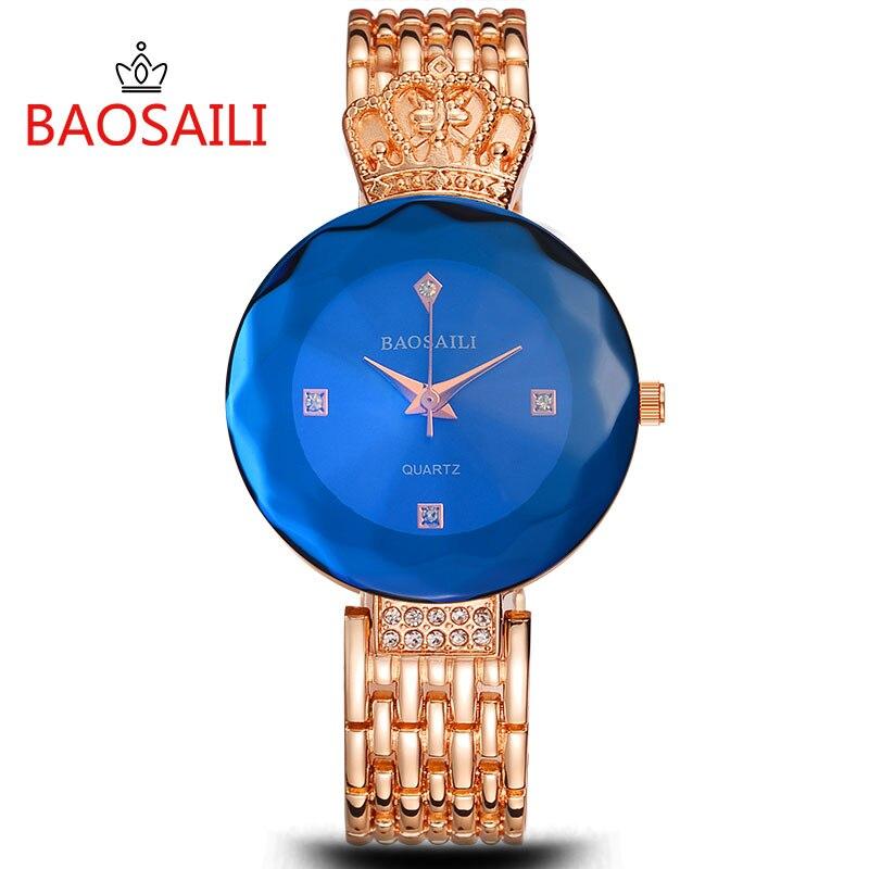 BAOSAILI Women Watches Hodinky Fashion Luxury Gold Ladies Elegant Bracelet Mesh Band Wristwatch Shiny Rhinestone Female Clocks