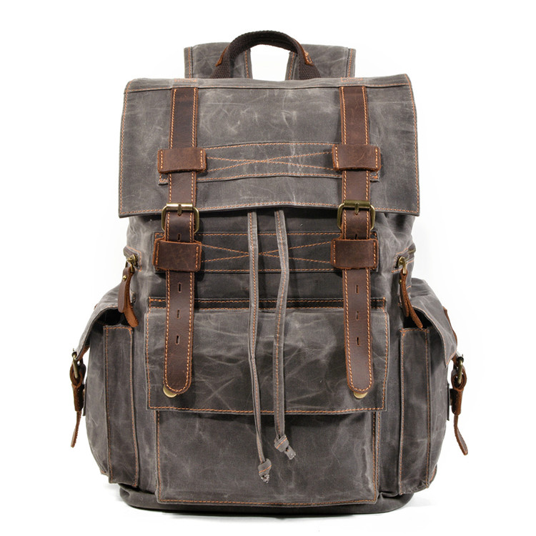 picture of the grey variant of the tallinn canvas drawstring backpack