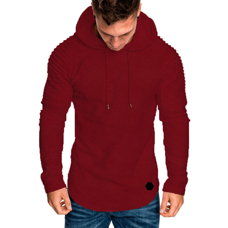 Fashion Mens Hoodies Solid Color Hooded Slim Sweatshirt Hip Hop Hoodies Sportswear Tracksuit 9
