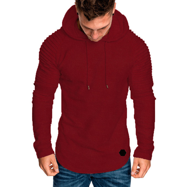 Fashion Mens Hoodies Solid Color Hooded Slim Sweatshirt Hip Hop Hoodies Sportswear Tracksuit 4