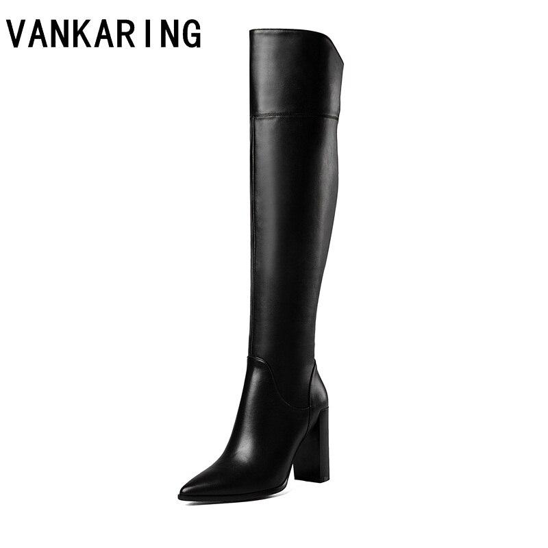 VANKARING scarpe inverno delle donne di alta della coscia stivali caldi sexy sopra gli stivali al ginocchio donne di modo stivali neri in pelle pieno stivali lunghi